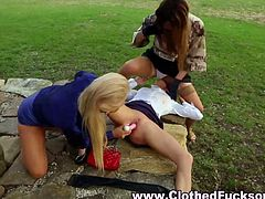 Stockings euro lesbos toy and lick each other outside