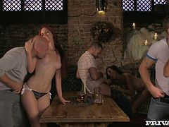 Group Sex Orgy with Three Euro Babes in Traditonal Dresses in a Tavern