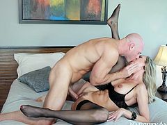 Johnny Sins is physically imposing pussy destroyer. He seduces Brandi for sex so he eats her pussy dry. Then he enters her clam in a missionary sex position pounding her mercilessly. Brandi moans wild with joy and indescribable delight.