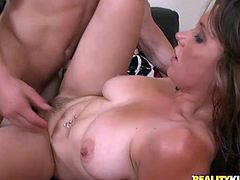 Horny girl strips her clothes off and gets her tits licked outdoors. Then she gives a blowjob and gets rammed in the house.