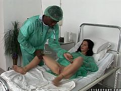 Horny black doctor hooks up with fuckable brunette patient. He forces her to lie and spread her legs wide before he starts stretching her vagina with speculum. Later she give him a head in steamy interracial sex video by 21 Sextury.