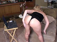 Divine blond mature is a real hot pants. She strips in front of cam in raunchy mini dress before she lies on the couch to rub sturdy penis of a horny dude with her feet and later give it a head.