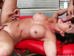 Hot tempered milf Raquel DeVine rides one stiff dong and jerks off another one at the same time. Later they pokes her hard in doggy style position.