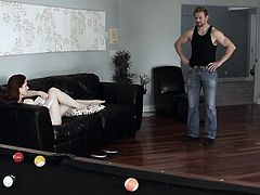 She lures him to play snooker but it's his balls she wants to play with. The sensual slut makes the guy undress and then takes off her panties, has a sit on the table and spreads her legs. Seeing her milky white thighs he goes insanely horny and eats her bald snatch. Her pussy needs a rough pounding!