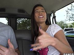 The horny Asian girl in this car is called Lily and she's going to have a blast sucking amateur cocks for jizz!