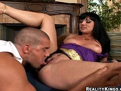 Check out this awesome hardcore scene with this brunette fucking whore here as she rides a hard cock and sucks on it too...
