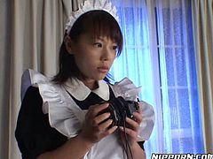 Well, this Pornstar sex clip is surely worth checking out. Submissive Japanese maid in short dress and heels gets tied up with ropes. She stands with her legs stretched. Spoiled man tickles her hairy pussy and causes the loud moans of kinky brunette.