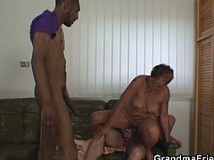 This horny grandma didn't have cock for a very long time and when these two dudes came at her door she was ready to take them both!