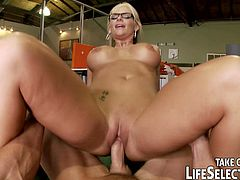 Watch the vicious blonde milfs Emily Austin and Phoenix Marie getting fucked in the office in this hot pov video. After banging nasty Emily's ass, it's time for Phoenix to ride a cock with her pussy. This