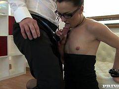 Slutty milf Angelique Duval wearing glasses is trying hard to satisfy her man. She sucks and rubs his dick devotedly and then allows the dude to fuck her cunt and butt as hard as he can.