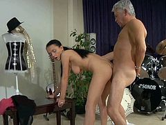 This brunette temptress can give any man an instant erection just seeing her lovely face! Palatable brunette with yummy tits gets into 69 position and gives hot blowjob to old dude. Since that prick is already hard she takes it up her tight asshole and rides it in reverse cowgirl position. Then she bends over for doggy style pounding.