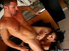 Divine brunette doxy with a pair of big slack tits gets her botomless anus pounded from behind in sideways pose before she rides sleek dick reverse cowgirl.