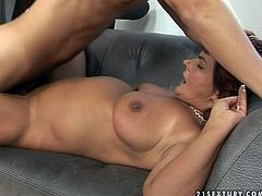 Lascivious mature mom is penetrated in her muff from behind. Energetic young guy pounds her clam hard making her scream wild with pleasure.