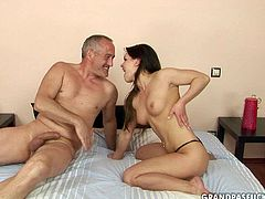 Fresh faced porn hooker Wikebe seduces old neighbor for sex. So she lures him to come over her place. When they are in the bedroom she starts sucking his old dick. Then the old young couple takes 69 sex position.