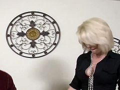 Big-Titted blonde milfs foot  leads to shafting her sons pal oustanding banana