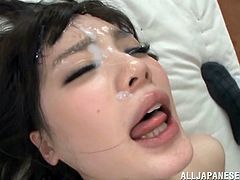 Young japanese schoolgirls should behave in the classroom. Well Airi got it all wrong, she's there to suck cock and get facialized! The pretty Nippon cunt rides cock and then lays on her back to receive a well deserve cum load on her pretty face. With cum all over her face she begins sucking cock