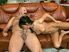 Horny skinny and long legged brunette gonna suck still strong dick of horny gaffer. Then this titless hottie desires to get her soaking wet pussy licked in return right on the couch.