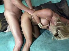 Watch the Busty blonde milf Holly Halston blowing her man's cock before things get really interesting. Her shaved pink cunt is ready to be drilled deep and hard into a superb orgasm.