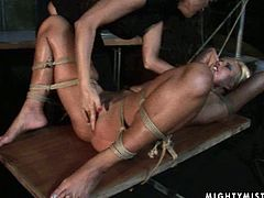 Brunette mistress teases blonde without mercy. Be ready for thrilling BDSM sex tube video for free. Brunette punishes blonde slut and finger fucks her pussy hard.