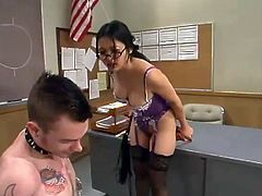 This guy does not know that his teacher loves to punish guys. She undresses and ties him up. After that she also whips his ass right in a classroom.