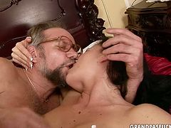 Frisky brunette whore with fresh sexy body is getting nailed hard from behind by energetic grandpa. Then old young couple fucks missionary style.