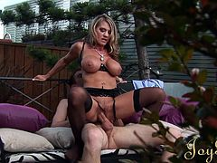 Big tits blonde goes nasty and wild in sensational hardcore porn in outdoor session