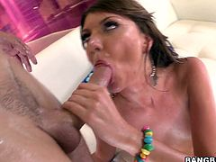 Insatiable brown-haired chick Cassandra Nix shows her cunt and butt to some guy and lets him toy her asshole. Then the dude drives his schlong into Cassandra's brown cave and fucks it hard in many positions.