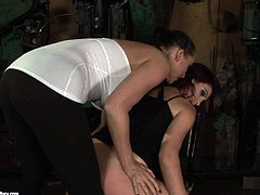 Two lesbos presented in 21 Sextury xxx clip are surely worth checking out, if you're a fan of femdom. Slutty busty brunette in white dress stretches tied up dyke's pussy lips to tease her cunt in a rough way.
