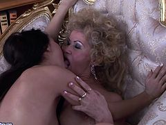21 Sextury xxx clip provides you with a hot lesbian session. Dirty fat and disgusting oldie wears strapon and gonna fuck the fresh pussy of sexy slim brunette right in the living-room.