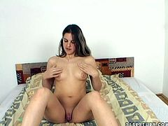 This 21 Sextury sex clip is worth checking out, cuz it will make you jizz at once. Slutty brunette GF poses on cam to boast of her natural tits and ass. Then bitch spreads legs wide and tickles her fancy passionately for orgasm.