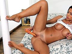 Pretty brown-haired pornstar puts new toy in her cunt
