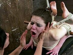 Isis Love is the dominating girl and Juliette March is so fucking loyal to her. Isis ties her up and makes her eat her twat. Then she pleases her with a vibrator.