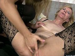 Mature lesbian enjoys fresh juice of one sweet looking blonde who rides her face. She sucks her pussy and licks her clit for to make her cum.