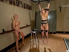 Jessie Cox is playing BDSM games with Lorelei Lee indoors. Lee binds and torments Jessie and then smashes her vag with a strapon.