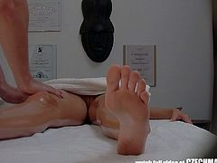 Watch an alluring Czech blonde temptress getting massaged before the masseuse pounds her shaved clam into a massive orgasm. She definitely looks very hot filmed by hidden cameras in this sexy voyeur vid.
