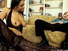 Aroused white daddy is a fan of well stacked black hotties. He calls up two wanton bootyful black whores in raunchy outfits and fishnet stockings that gladden his eyes with professional striptease in FFM sex video by Pornstar.