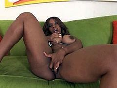 This bitchie black chick knows how to win a massive BBC for hot sex. Torrid nympho in blue stuff warms up and masturbates on the couch. Then plump nympho goes to the yard to seduce a strong black stud by demonstrating her huge ass proudly.