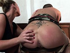 Kathya is going tough on her sex pot in filthy BDSM porn video. While the sub is tied up Kathya licks her all over. Then she puts a gag in her mouth whipping her ass bad.