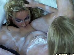 Kinky slim blondie with natural tits spins right on the dirty ground while ardent busty angel fingers and licks her wet juicy pussy. Check out this steamy a bit weird 21 Sextury xxx clip to jizz right away!