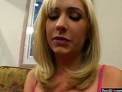 Playful blond student stares in cam with a naive look while sitting on the couch before she moves her fingers towards soaking pussy to rub it zealously. Later a horny dude joins her to welcome blowjob of his strain dick, which she later rides cowgirl style.