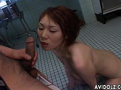 Naughty asian babe gets it deep and starts screaming by the intense pleasure.