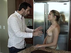 He found Lily stretching topless in the living room and that made this guy horny as hell. They went into the kitchen, where he couldn't help it not to grab her sweet titties. Whereupon she knelt and sucked his dick, but the guy wanted more, so he grabbed her by the head and shoved his penis deep in her throat
