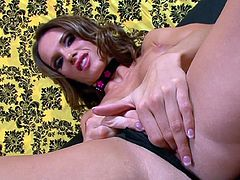 Nasty beauty shows off her shaved cunt in one nasty and wild solo session