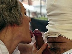This sex insane grannie enjoys young body of one handsome dude. He fondles her saggy tits and kisses her hard nipples. Later he penetrates her worn out hairy pussy in missionary style from behind.