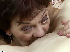 Blonde gal with sweet tits provides horny brunette housewife with cunnilingus. Spoiled pale oldie with saggy tits desires to reach orgasm tonight. Check out both lesbians in 21 Sextury xxx clip to jerk off and jizz.