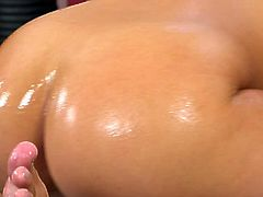 Watch a vicious blonde slut oiling her hot body before riding her man's cock into kingdom come with her sweet pussy.