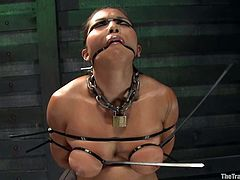 Exotic cutie Adrianna Luna is having fun with some guy in a basement. She lets the man bind her and then takes a wild ride on a fucking machine.