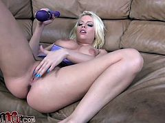 While one incredible pretty blonde babe that has big fake tits was waiting for her boyfriend to come, she played a little bit with her vibrator