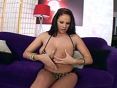 Gianna Michaels is a busty and wild brunette pornstar who knows how to put on a great show. After sucking and tittyfucking her man's dong she's ready to get her cunt rammed into heaven.