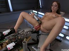 Charming brown-haired girl Remy LaCroix is having some good time alone. She shows off her pussy and rubs it and then gets double penetrated by a fucking machine.